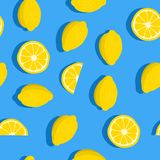 Lemons background. Seamless pattern with fresh fruits. Vector illustration.  Stock Photo