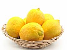 Lemons in a basket Stock Photography