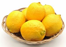 Lemons in a basket Royalty Free Stock Photography