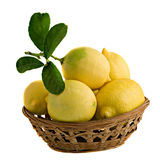 Lemons in basket Royalty Free Stock Photography