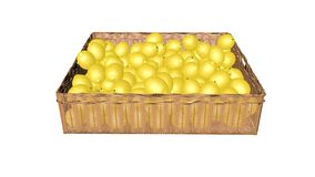 Lemons,  in the basket Stock Photo