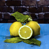 Lemons on a blue wood Royalty Free Stock Photography