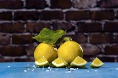 Lemons on a blue wood Stock Image