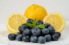 Lemons and Blueberries Stock Photography