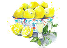 Lemons in the bowl with limoncello in the glass still life watercolor painting isolated on white background Stock Image