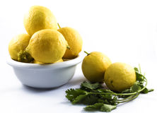 Lemons in a bowl Royalty Free Stock Photos