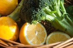 lemons and broccoli stock image