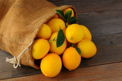 Lemons In Burlap Sack on Wood Royalty Free Stock Photos