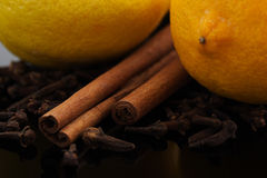 Lemons, cinnamon and cloves Royalty Free Stock Photography