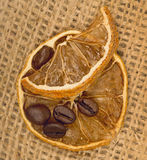 Lemons and coffee beans Stock Photography