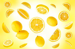 Lemons composition. Composition of a lemons on a yellow background royalty free stock images