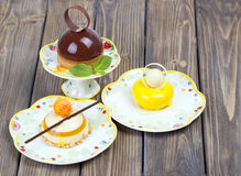 Lemons delicious chocolate cake Royalty Free Stock Image