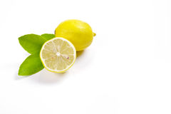 Lemons displayed on a white background Royalty Free Stock Image