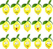 Lemons with feature a different expression Stock Images