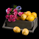 Lemons with flowers Royalty Free Stock Images