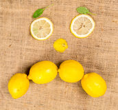 Lemons forming a sad face Royalty Free Stock Images