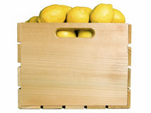 Lemons in a Fruit Crate Royalty Free Stock Photos