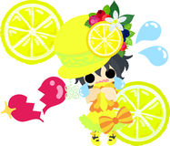 Lemons and girls. A hat of lemons and a cute little girl in lost love Stock Photos