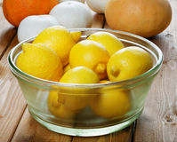 Lemons in a glass plate Stock Image