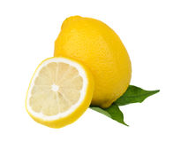 Lemons on green leaf Royalty Free Stock Photos