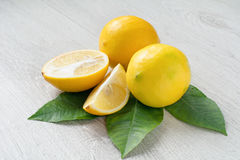 Lemons with green leaf isolated Royalty Free Stock Photography