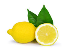 Lemons with green leaves Stock Images