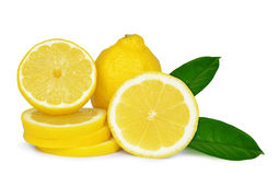 Lemons with green leaves Royalty Free Stock Photography