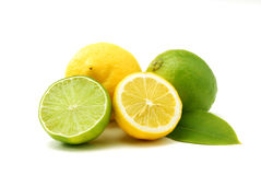 Lemons and green limes. Close up of lemons amd limes isolated over white Stock Image