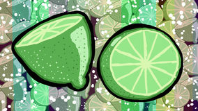 Lemons. Green lemons on striped and pattern background Stock Photos