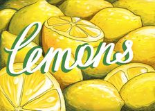Lemons. A hand-drawn digital picture with lots of lemons and some retro lettering Stock Image