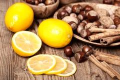 Lemons with hazelnut Royalty Free Stock Photography