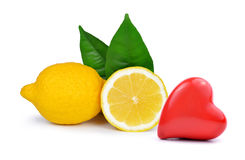 Lemons with heart. Isolated on a white background Stock Images