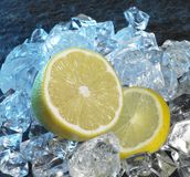 Lemons and ice cubes Royalty Free Stock Photo