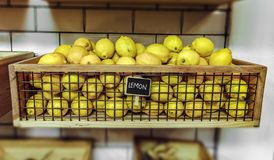 Lemons Inside A Wooden Crate Royalty Free Stock Photo