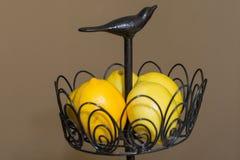 Lemons in the bowl. Lemons in the iron bowl Stock Photo