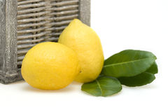 Lemons with leafes and wicker basket Royalty Free Stock Photo