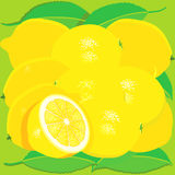 Lemons with leaves Stock Images