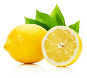 Lemons with leaves isolated on the white background Royalty Free Stock Photos