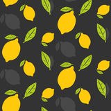 Lemons with leaves seamless pattern Royalty Free Stock Photography