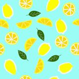 Lemons with leaves seamless pattern vector illustration. On blue background royalty free illustration