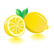 Lemons with leaves and shadows on the white. Stock Image