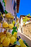 Lemons and lemon domestic products on street of Limone sul Garda. Garda lake in Lombardy region of Italy Royalty Free Stock Photos