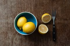 Lemons. On a wooden table Royalty Free Stock Image