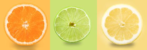 lemons lime Orange citron, limefrukt E Samling royaltyfri fotografi