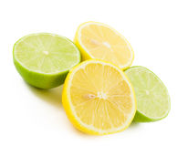 Lemons and Limes. On white Royalty Free Stock Photo