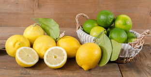 Lemons and limes in a basket Stock Photography