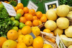 Lemons, limes and juicing oranges on display at Borough Market Royalty Free Stock Photography