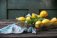 Lemons, limes and mint Royalty Free Stock Image