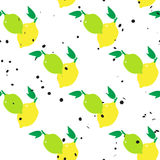Lemons and limes seamless pattern. With hexagon dot on white background. Colorful vector illustration vector illustration