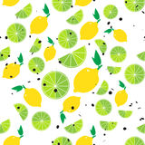 Lemons and limes seamless pattern. With hexagon dot on white background. Colorful vector illustration royalty free illustration